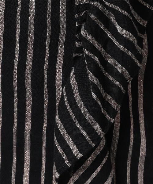 my Sunday Morning.../マイ サンデー モーニング.../STACY shirt with frill -stripe print-