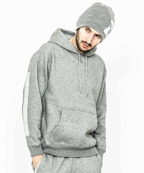 ACANTHUS(アカンサス)の「mpa2313-Line Paint Hooded Sweatshirt(パーカー)」|グレー