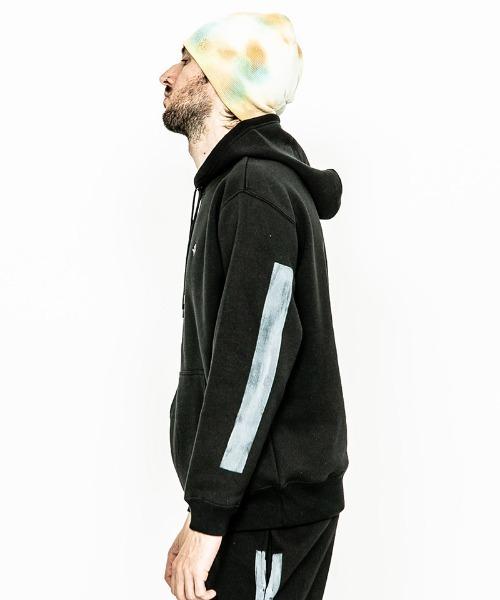ACANTHUS(アカンサス)の「mpa2313-Line Paint Hooded Sweatshirt(パーカー)」|詳細画像