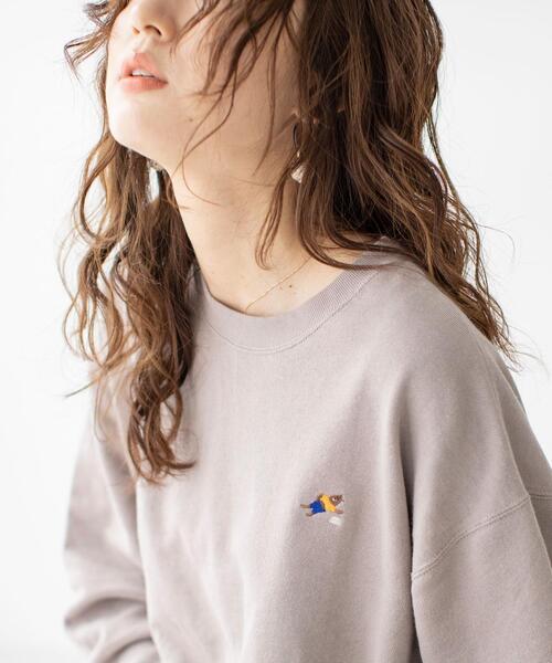 USAコットンオーガニックコットンミックス裏毛クマ刺繍スウェット#