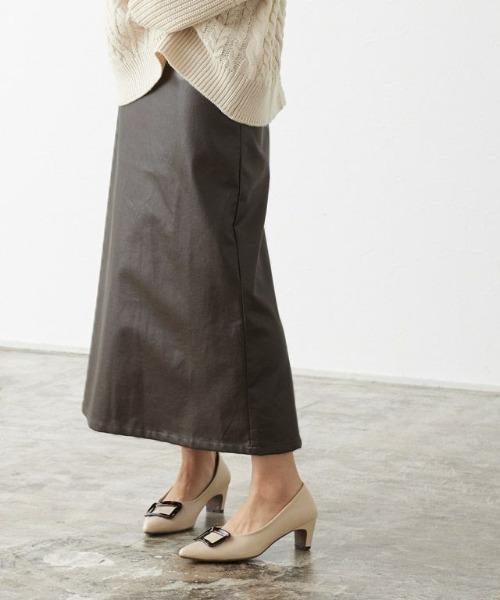 Pierrot(ピエロ)の「フェイクレザーナロースカート(スカート)」|ブラウン
