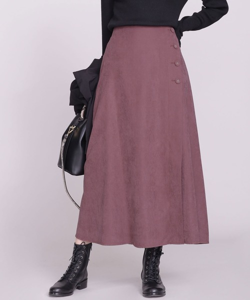 nano・universe(ナノユニバース)の「バックサテンピーチサイドボタンスカート(スカート)」|パープル系その他