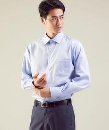 Cナローストライプ スリム ショートワイドカラー ドレスシャツ -イージーアイロン-