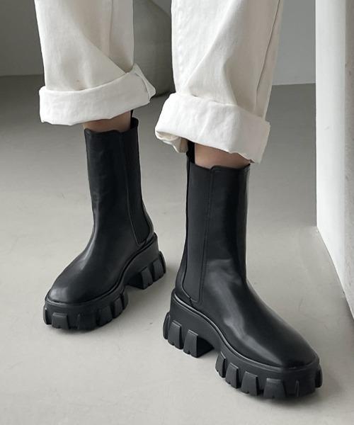 【chuclla】【2021/AW】Lug sole chelsea boots chs21a037