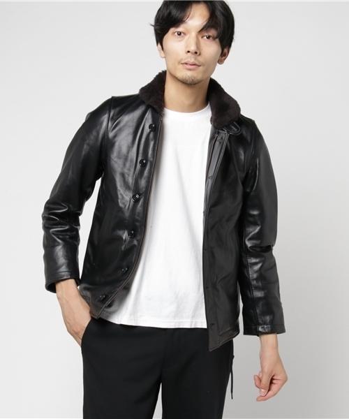 【HOUSTON】レザー N-1 デッキジャケット