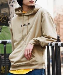 ▽WEB限定 KANGOL/カンゴール 別注ロゴ刺繍 オーバーサイズ プルオーバーパーカーベージュ