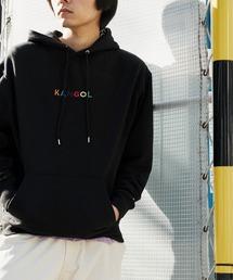 ▽WEB限定 KANGOL/カンゴール 別注ロゴ刺繍 オーバーサイズ プルオーバーパーカーブラック系その他