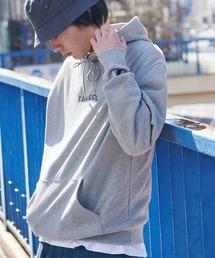▽WEB限定 KANGOL/カンゴール 別注ロゴ刺繍 オーバーサイズ プルオーバーパーカー杢グレー