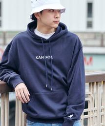▽WEB限定 KANGOL/カンゴール 別注ロゴ刺繍 オーバーサイズ プルオーバーパーカーネイビー