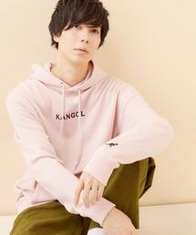 ▽WEB限定 KANGOL/カンゴール 別注ロゴ刺繍 オーバーサイズ プルオーバーパーカーライトピンク