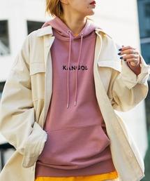 ▽WEB限定 KANGOL/カンゴール 別注ロゴ刺繍 オーバーサイズ プルオーバーパーカーピンク