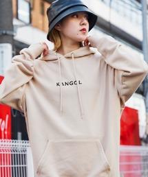 ▽WEB限定 KANGOL/カンゴール 別注ロゴ刺繍 オーバーサイズ プルオーバーパーカーライトベージュ
