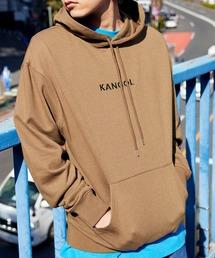 ▽WEB限定 KANGOL/カンゴール 別注ロゴ刺繍 オーバーサイズ プルオーバーパーカーライトブラウン