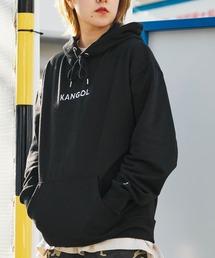 ▽WEB限定 KANGOL/カンゴール 別注ロゴ刺繍 オーバーサイズ プルオーバーパーカーブラック