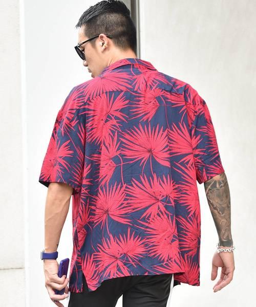 ボタニカル柄オープンカラーシャツ 開襟シャツ 開襟 アロハシャツ