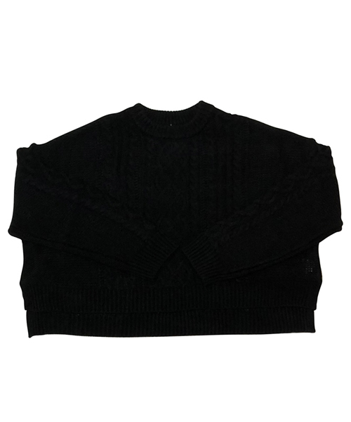 【MINELAL】Cable short knit/ケーブルショートニット