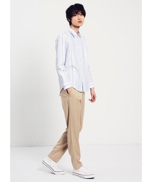 超長綿ランダムストライプシャツ