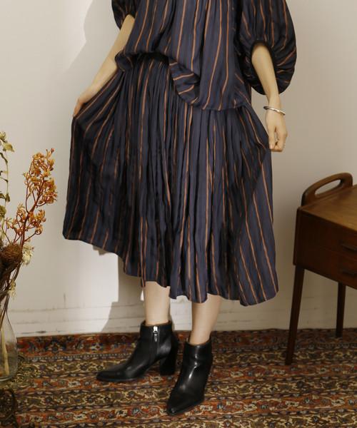 人気新品入荷 Soffitto/ラメストライプギャザースカート, ショップハナテック fe189ef6