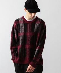 【WEB限定】 by モヘヤ チェック セーター