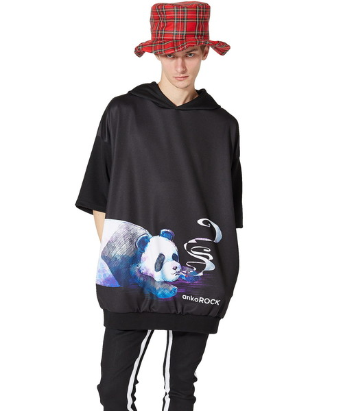 スモーキングパンダ半袖プルオーバーパーカー -スーパービッグ-