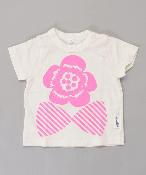 蛍光プリントTシャツ りぼんフラワー(80~140cm)