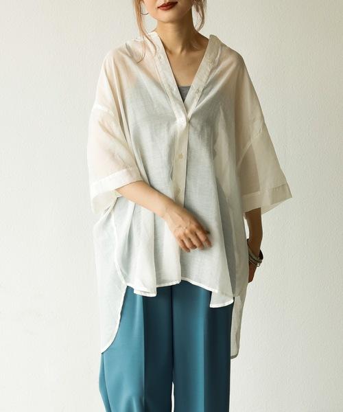 A.I.C(エーアイシー)の「【WEB限定】バンドカラー・BIGシルエット半袖シアーシャツ(シャツ/ブラウス)」|ホワイト