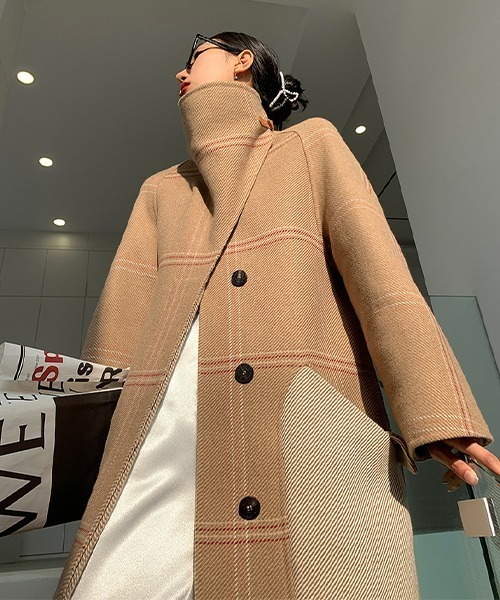【chuclla】【2021AW】Check stand collar coat chw21a081