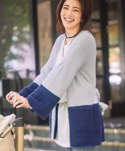 GeeRA(ジーラ)の「ふわふわ起毛ニット配色ガウンコート(その他アウター)」|ブルー系その他