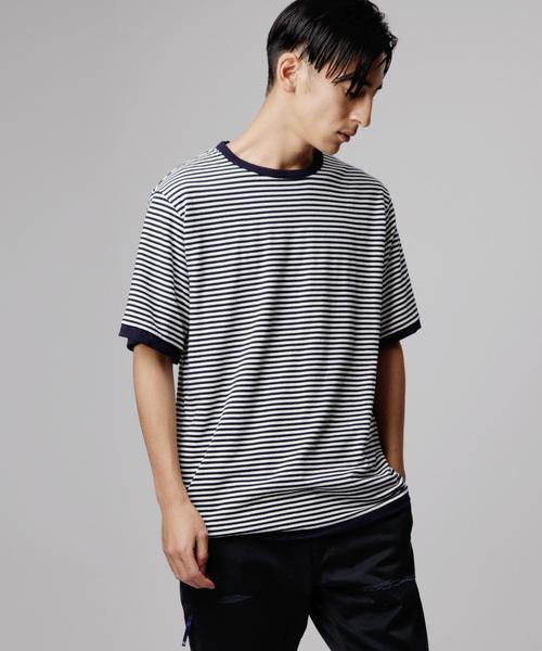 ボーダー×無地 リバーシブルTシャツ~JAPAN MADE~