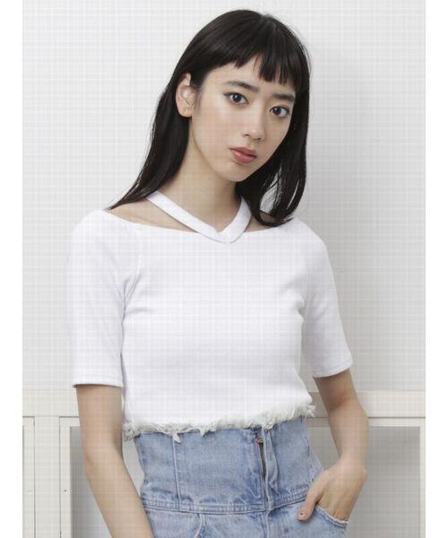 WストラップフィットTシャツ