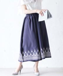 cawaii(カワイイ)の夏コーデに合わせやすい花刺繍ネイビーワイドパンツ(パンツ)