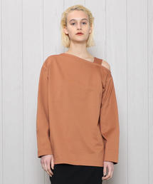 <H>ONE SHOULDER LONG SLEEVE PULLOVER/カットソー
