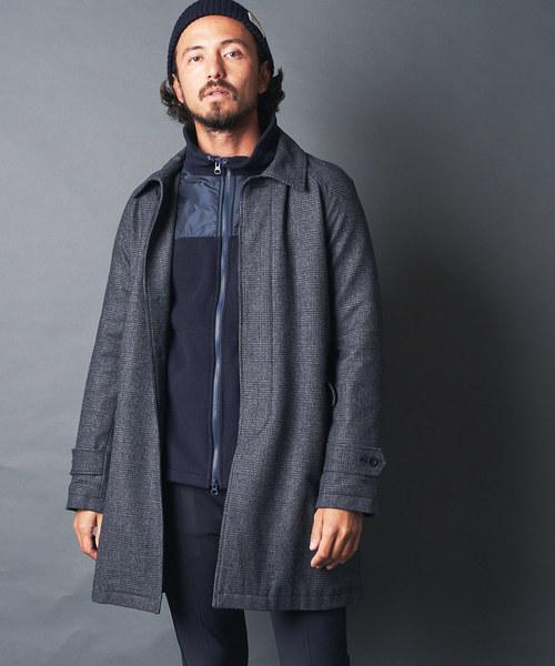 Magine(マージン)の「WOOL GRENCHECK  BAL COLLAR COAT:ウール グレンチェック バルカラーコート(ステンカラーコート)」 ブラック×グレー