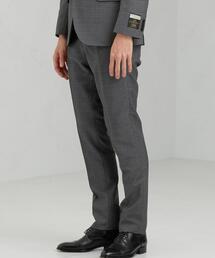 [マルゾット] MARZOTTO チェック風 スリム ノープリーツ スーツパンツ