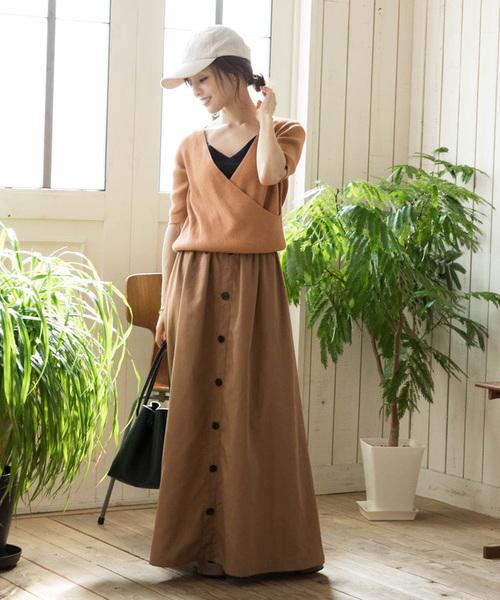 titivate(ティティベイト)の「フロントボタンスカート(スカート)」|ライトブラウン