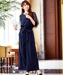 c517969dc07a7 Fashion Letter(ファッションレター)のレーススリーブ ワイドパンツドレス(ドレス)