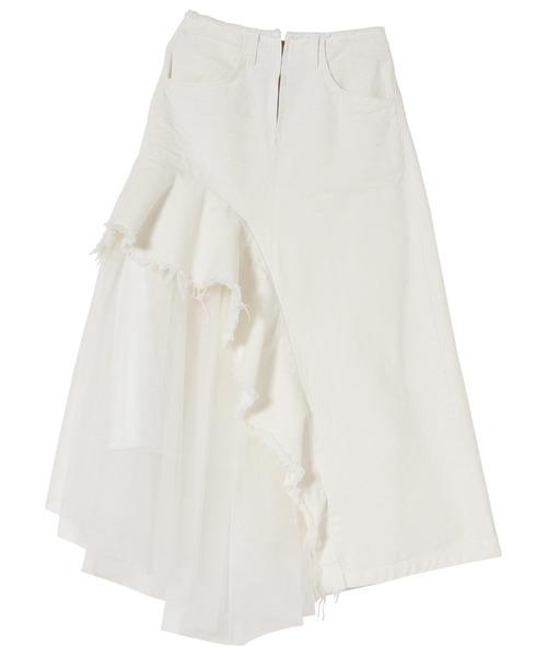 【はこぽす対応商品】 【セール】チュールラッフルアシンメトリーロング丈スカート 60399(スカート) doll Doll/ up up oops(ドールアップウップス)のファッション通販, 謙信笹だんご本舗くさのや:05a7b776 --- steuergraefe.de