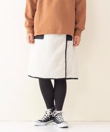 ボアリバーシブルスカート 裏側フリース素材 リバーシブル仕様アイボリー