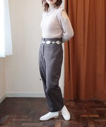 warm color pantsダークブラウン