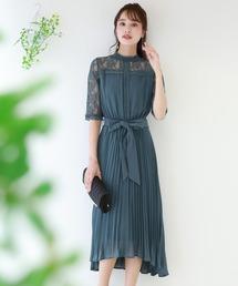 BLUEEAST(ブルーイースト)のハイネックラメレース袖付き プリーツスカートミモレ丈パーティードレス・結婚式ワンピース(ドレス)