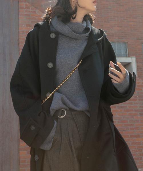 【chuclla】Hoodie wide cuffs wool coat sb-2 cb-1 chw1312