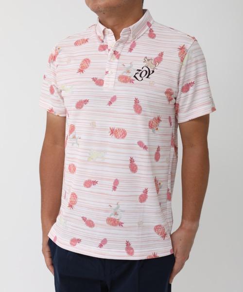 《ZOY》どんぶらこパイナップルPT半袖ポロシャツ