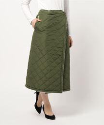 キルトリバーシブルマキシスカート 暖かみのあるボア素材 ウエストゴム仕様カーキ