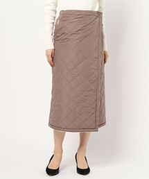 キルトリバーシブルマキシスカート 暖かみのあるボア素材 ウエストゴム仕様ライトブラウン