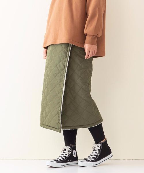 キルトリバーシブルマキシスカート 暖かみのあるボア素材 ウエストゴム仕様