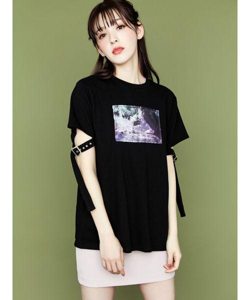 ベルトスリーブグラフィックTシャツ