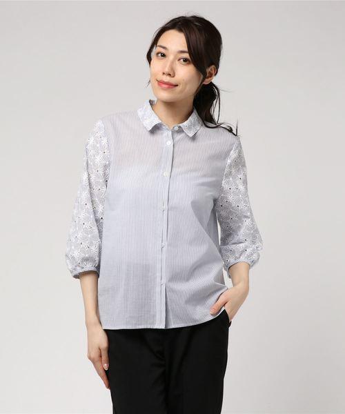 【CECI OU CELA】ストライプ花柄刺繍 シャツ