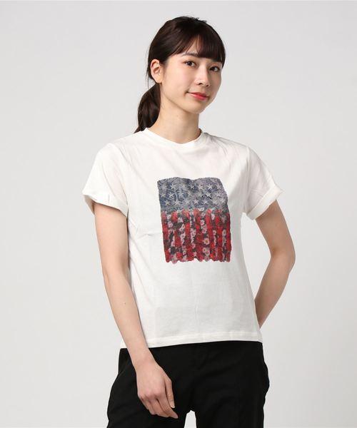 USA星条旗×花柄コラージュプリント半袖Tシャツカットソー
