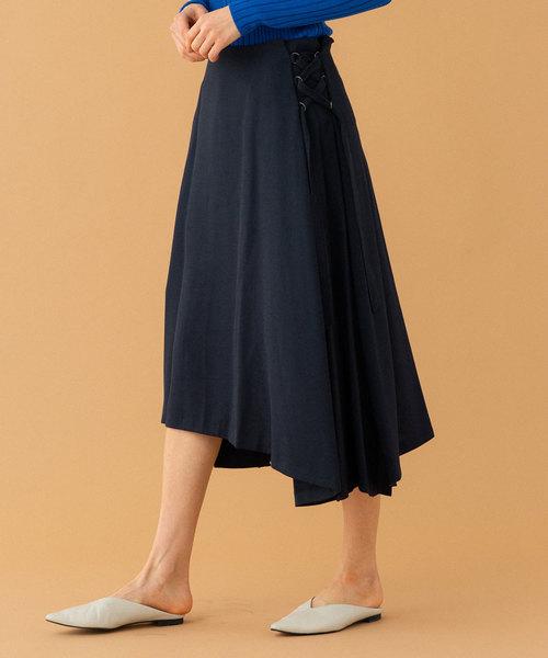 UNITED TOKYO(ユナイテッドトウキョウ)の「リネンライクレースアップスカート(スカート)」|ネイビー