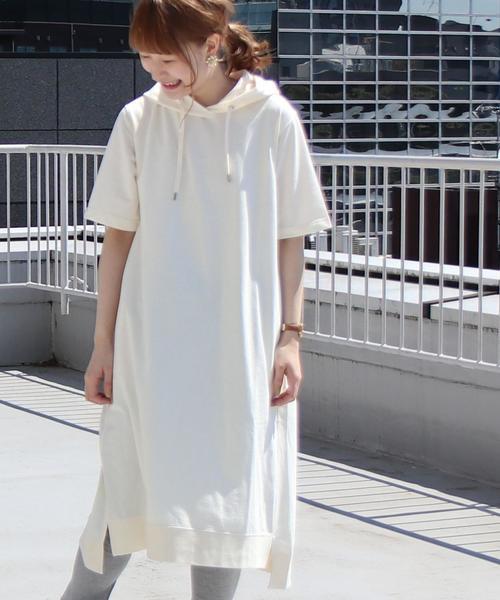 CVCミニ裏毛フードワンピース ( パーカーワンピース )
